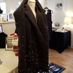 Betsey Johnson poncho/blanket pearl scarf